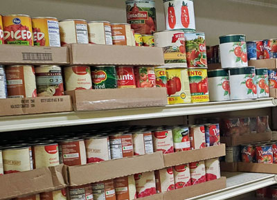 Canned goods at Whitney Food Bank